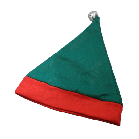 Child Size Christmas Elf Hat in Green with Red Trim and Bell