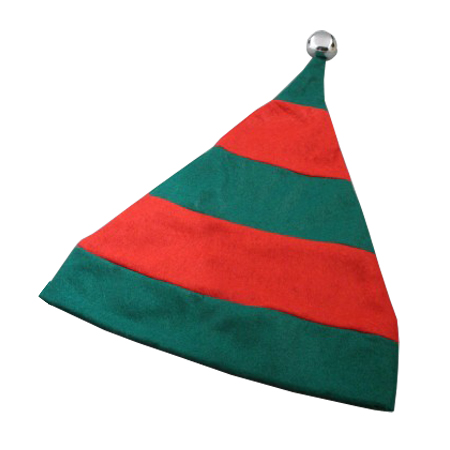 Christmas Striped Elf Hat in Green with Red Trim and Silver Bell