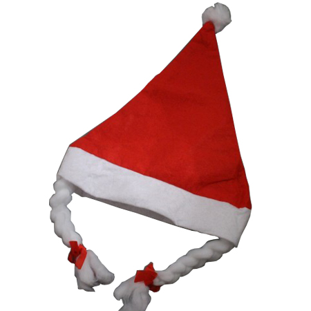 Adult size-Red with Plaits-Christmas Santa Hats