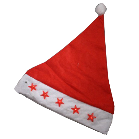 Flashing Red Stars Christmas Santa Hats