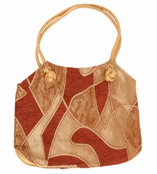 -Maroon/Beige Velvet Venus-Ladies Handbags