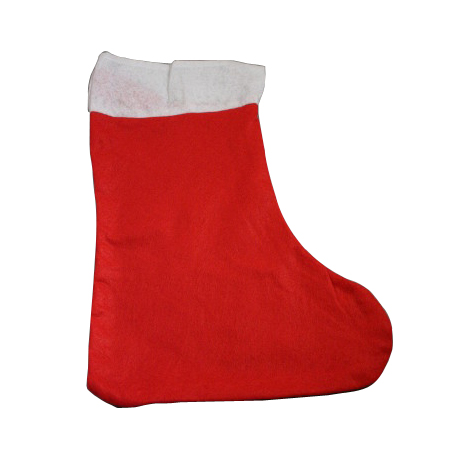 Medium-Red Fabric with White Trim-Christmas Stocking