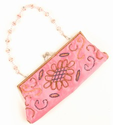 -Pink with Blue/Bronze Sequins-Ladies Handbags