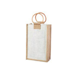Double Bottle Wine Bags-Natural + White-Jute Bags