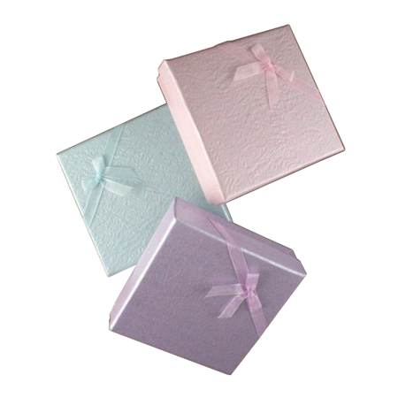 Small Coloured Dimpled Gift Box with Ribbon Bow