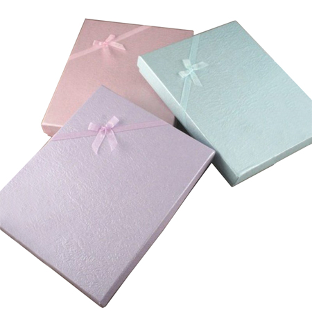 Large Coloured Dimpled Paper Gift Box with Ribbon Bow