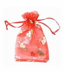 Small Red & Gold I Love You Organza Bags