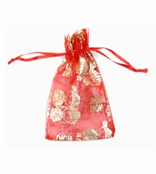 Small Red & Gold Boy Girl Organza Bags