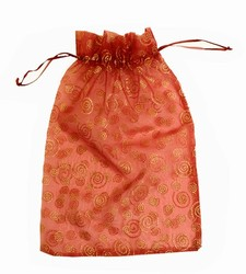 Extra Large Giant-Maroon & Gold Swirls & Stars-Organza Bags