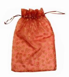 Extra Large Maroon & Gold Swirls & Stars Organza Bags