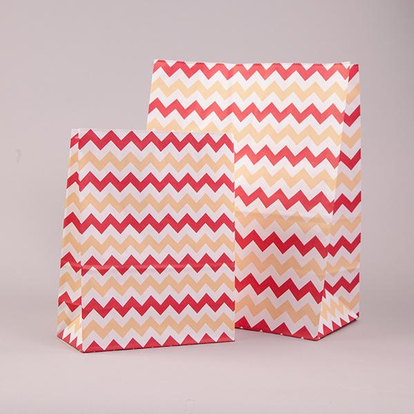 Red & Cream Chevron Pick n Mix / Popcorn Paper Bags