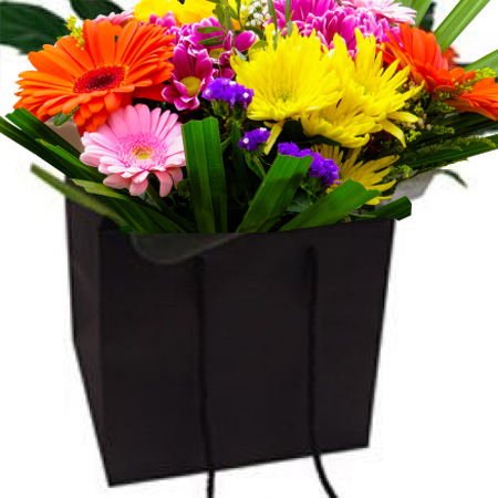 Small Black Matt Laminated Florist Paper Carrier Bags