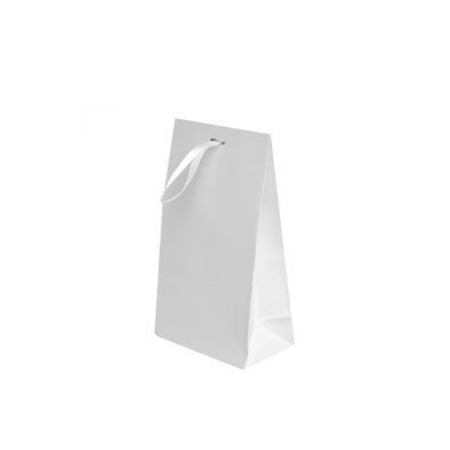 Small White Matt Laminated Ribbon Bags