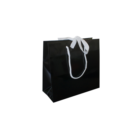 Small Black Ribbon Tie Laminated Paper Carrier Bags