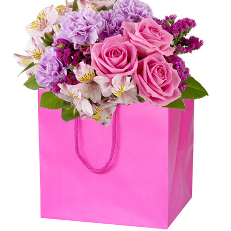 Large Fuchsia Matt Laminated Florist Paper Carrier Bags