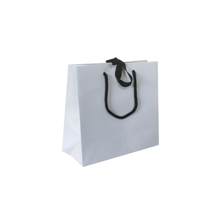 Small White Ribbon Tie Laminated Paper Carrier Bags