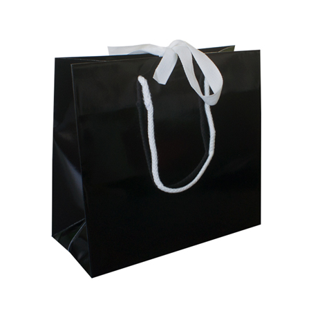 Large Black Ribbon Tie Laminated Paper Carrier Bags