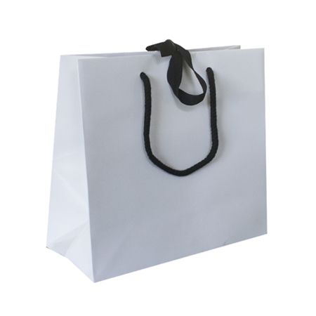 Large White Ribbon Tie Laminated Paper Carrier Bags