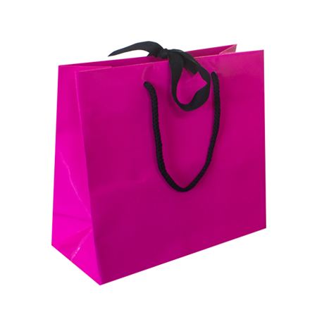 Large Fuchsia Ribbon Tie Laminated Paper Carrier Bags