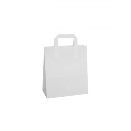 Small White Paper Carrier Bags Flat Taped Handle