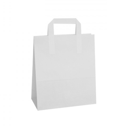 Medium White Paper Carrier Bags Flat Taped Handle