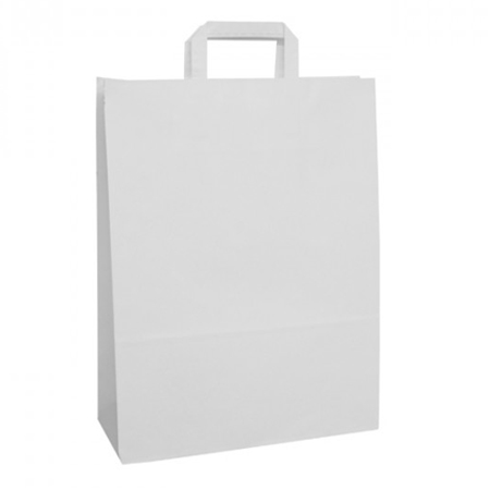 Large White Paper Carrier Bags Flat Taped Handle