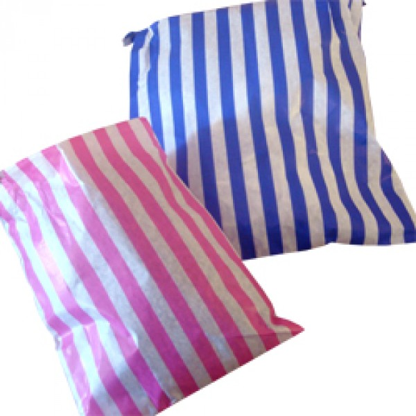 Small-White with Pink or Blue-Candy Striped Paper Bags
