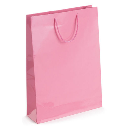 Large Baby Pink Gloss Laminated Paper Bags
