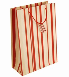 Large-Red & White Stripes-Paper Bags with Gift Tag