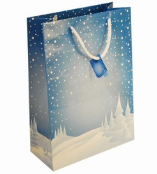 Large Blue Xmas Paper Gift Bag