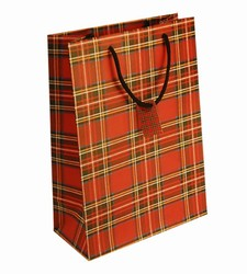 Large-Red Tartan-Paper Bags with Gift Tag