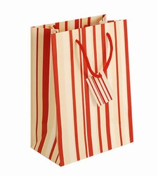 Medium-Red & White Stripes-Paper Bags with Gift Tag