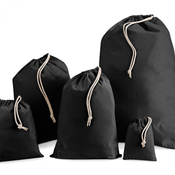 140mm Black Cotton Drawstring Bags