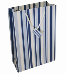 Large-Blue & White Stripes-Paper Bags with Gift Tag