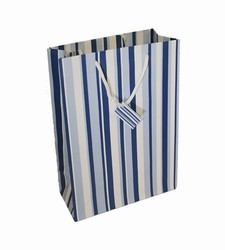 Medium-Blue & White Stripes-Paper Bags with Gift Tag