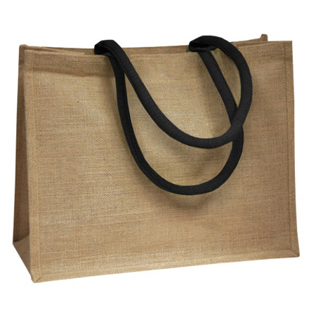 Jute Bags With Black Padded Handle