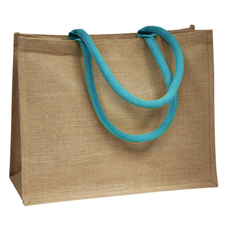 Large Sky Blue Handle Jute Bags