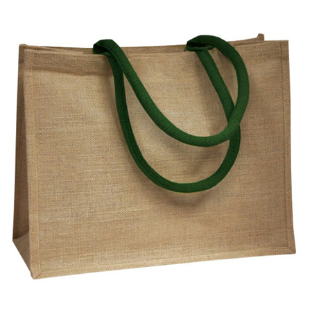 Jute Bags With Dark Green Padded Handle