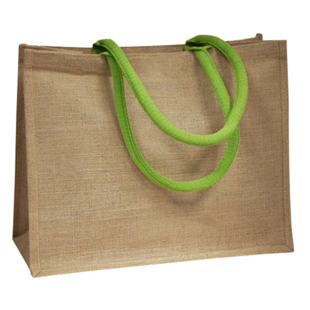 Large Lime Green Handle Jute Bags