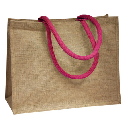 Jute Bags With Pink Padded Handle