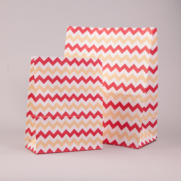 Red & Cream Chevron Pick n Mix / Popcorn Paper Bags