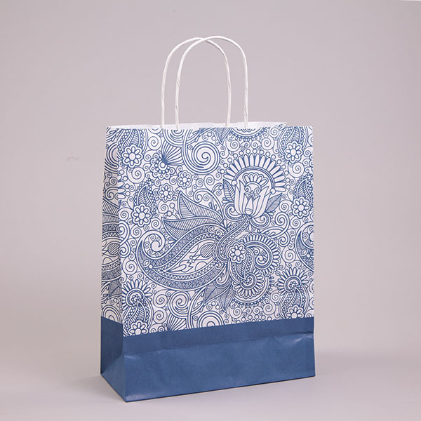 Blue Paisley Paper Carrier Bags with Twisted Handles