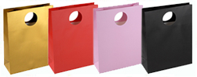 Medium Matt Laminated Paper Gift Bags with Round Die-Cut 25 x 34 x 10 cm