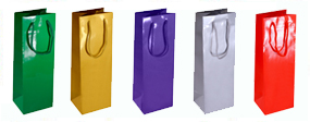 Wine Bottle Bags Gloss Laminated with Rope Handles-12x35x10cm
