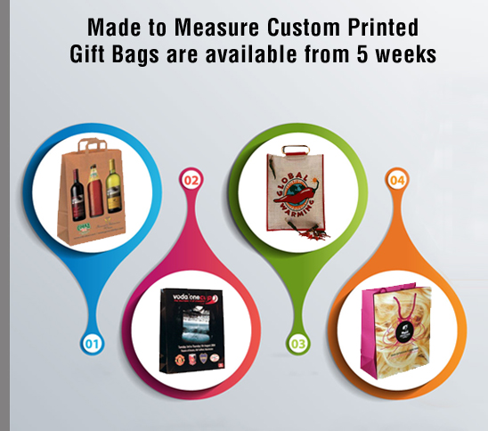 Made to Measure Custom Printed Gift Bags are available from 5 weeks
