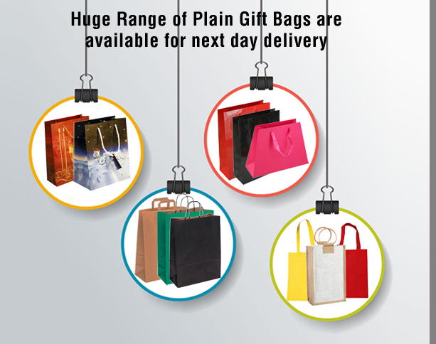 Plain Gift Bags are available for next day delivery