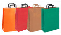 Kraft Paper Plain Bags with Flat Tape Handle